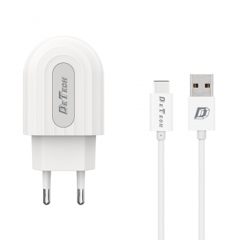 Φορτιστής  DeTech 5V/2.4A 1 x USB καλώδιο Lightning  1.0m λευκό 14134